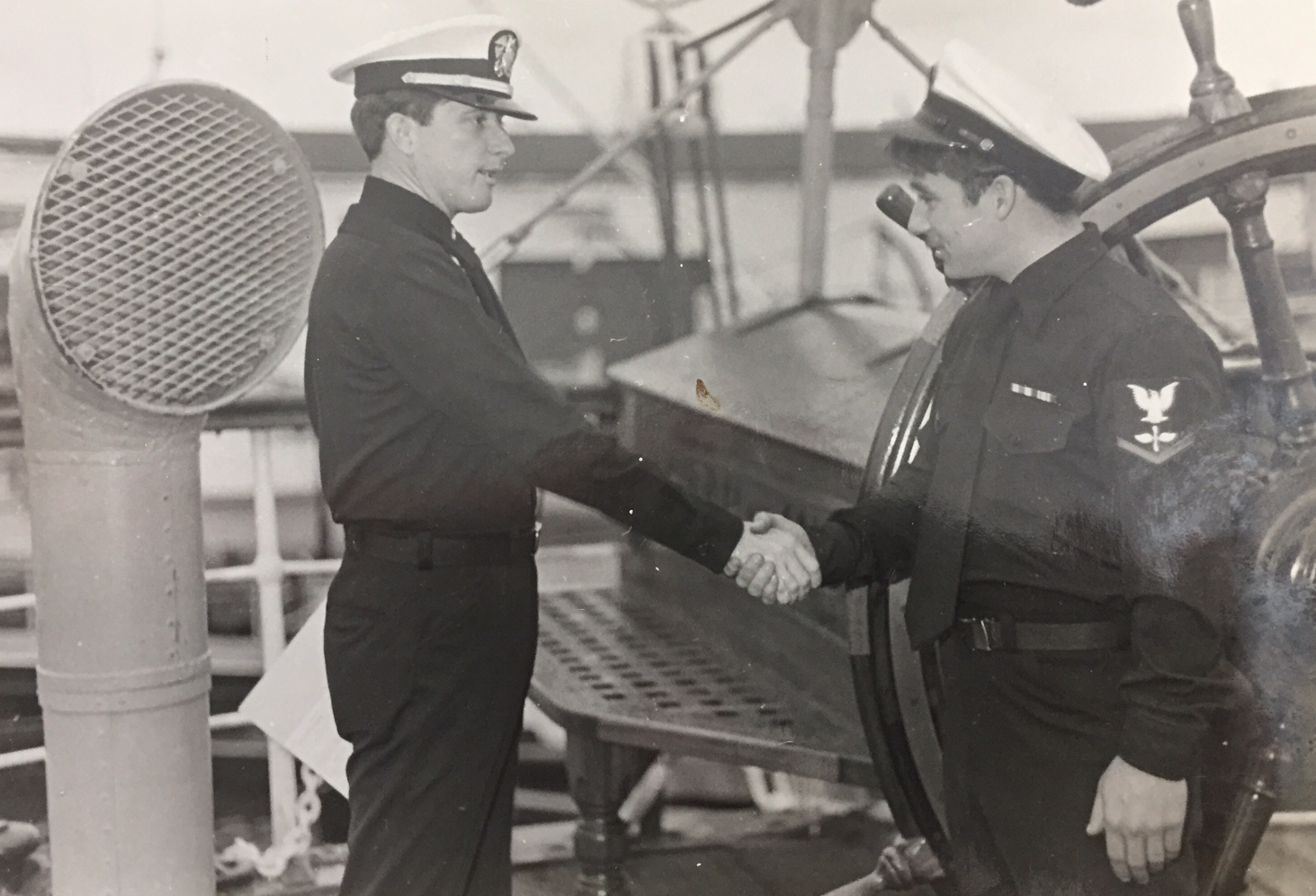 Getting another medal, I was on the deck of a tall sailing ship, three mast.