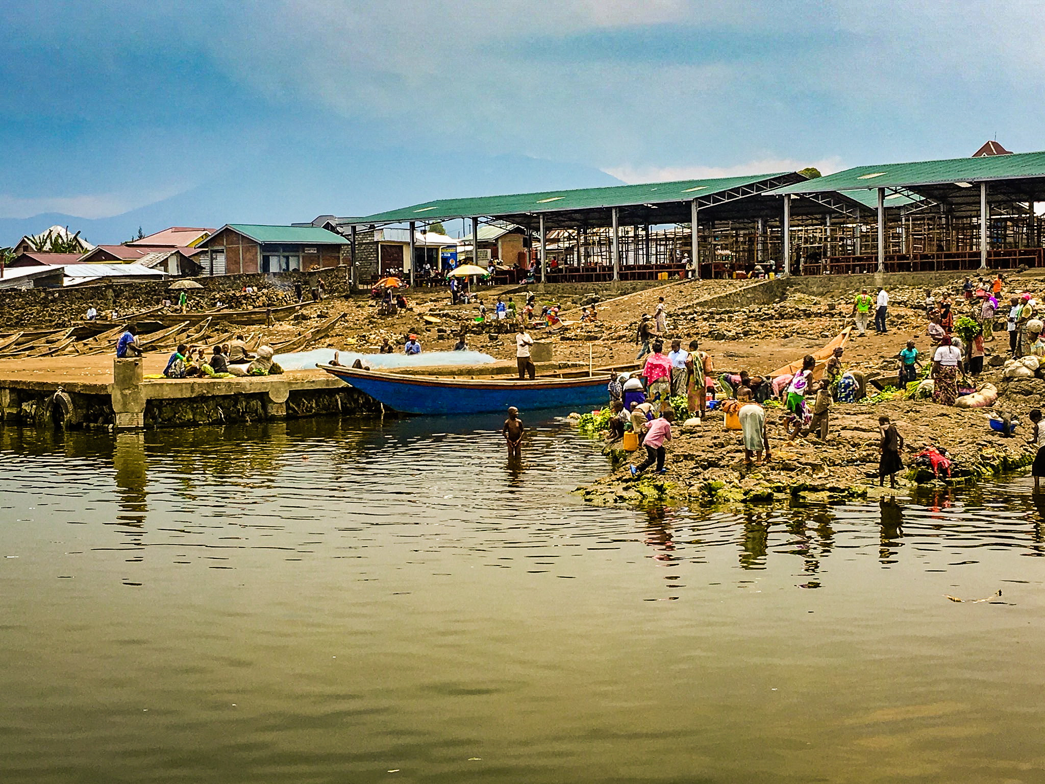 Lake Kivu. Where the locals go to fish, bathe, wash produce, and gather drinking water.