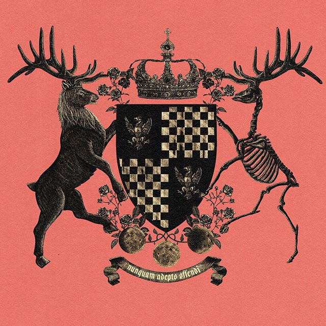 Finished the super detailed version of my coat of arms. Going to make a simpler vector version now. #design #coatofarms #graphicdesign #illustration #truegrittexturesupply #stag #german #deustch #troester #troster