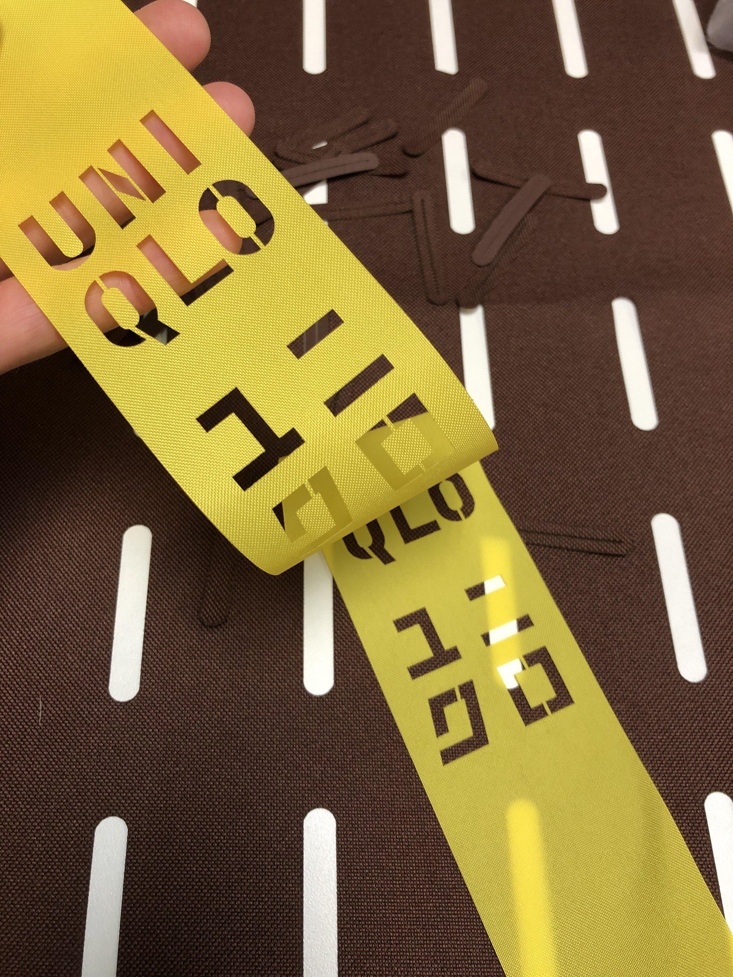 laser cut polyester Uniqlo ribbon