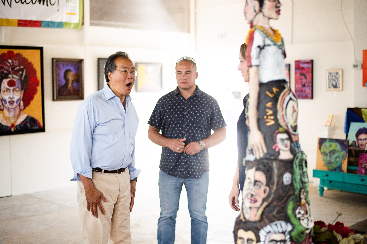 Yo-yo Ma at the Frida art show