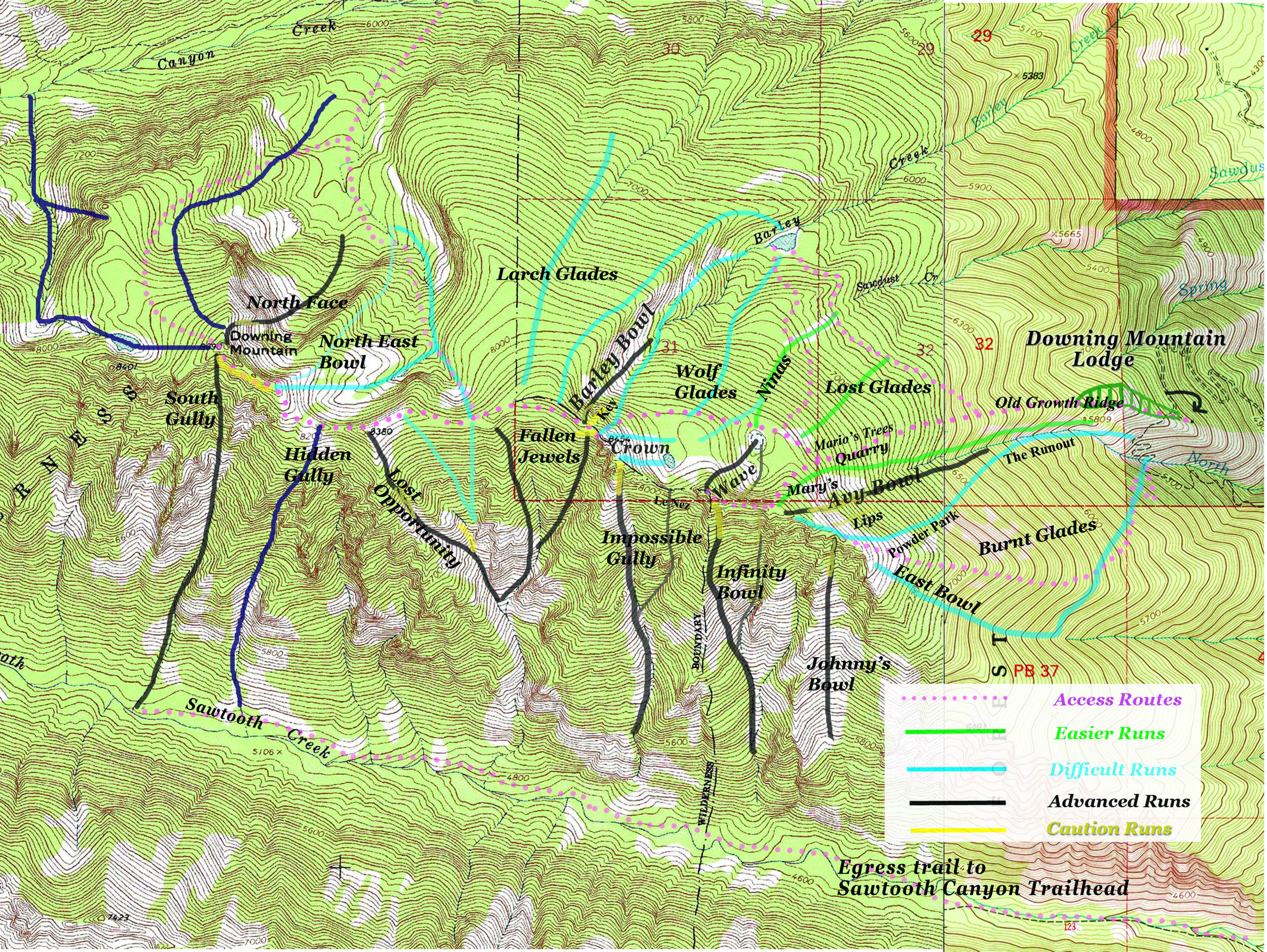 Downing Mountain Ski Map- labeled detail approximate, use with caution and respect!