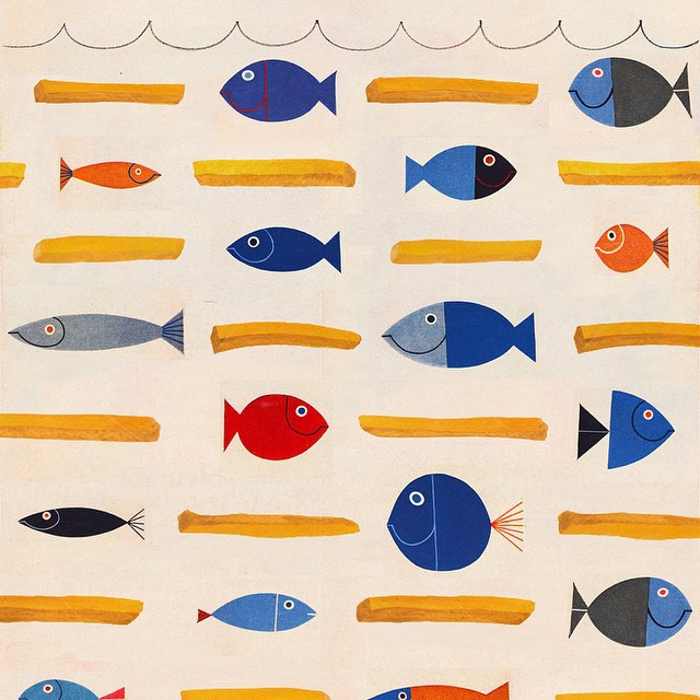 "The start of my ""Fish 'N Chips"" textile design. #textile #ilovemyjob #illustration #instaart #art #art365 #artanddesign #artofinstagram #design #graphicdesign #summer #pattern #fabric #watercolor #digitalart #thedesigntip #productdesign #color #conceptart #fish #chips #kidsart #characterdesign #stationary"