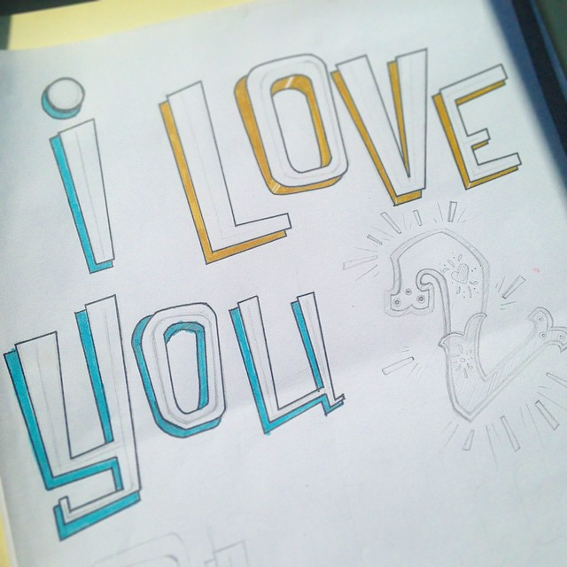 "Sometimes the greatest 3 words an illustrator can here from her boss are ""Go for it"". Especially when they are said after she is caught doodling in her sketch book on her lunch break and her boss happens to walk by. #ilovemyjob #type #type365 #thedesigntip #thedailytype #wip #graphicdesign #grateful #handmadefont #lettering #font #art #art365"