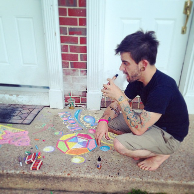 @jonathanmjames is a wonderful friend and uses all the colors. These are 2 true facts about him. #sidewalkchalk #summer #art