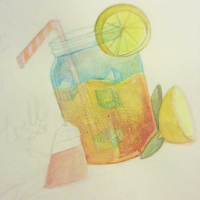 Remind me why I ever try to watercolor again? Whatever, it's summer and just like and Arnold Palmer, me and the heat…we mix well 😎 #watercolor #funinthesun #painting #illustration #summer #art365