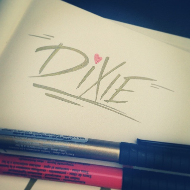 K. I'm ready to never come home now. #dixie #type #ilovemyjob #type365 #typeaddict #typography #gratuitoustype #graphicdesign #lettering #marker #handmadefont #handdrawntype #freehand #design
