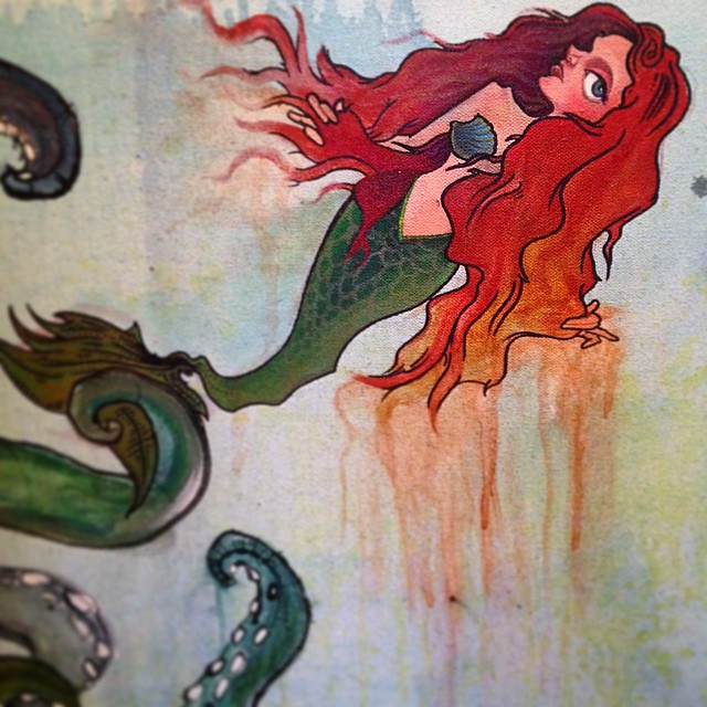 Collaboration w/ @c0n0rr sneak preview. Getting to work on cool shit with such badass artists such as him=the reason I button up my smock in the morning! Thanks for trusting me buddy 💖 #painting #penandink #mixedmedia #art #mermaid #tentacles #characterdesign #collaboration #ilovemyjob #illustration #sharingiscaring