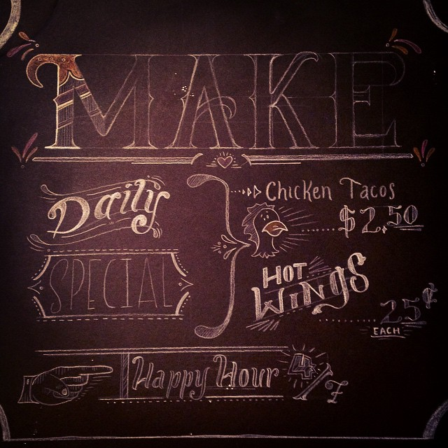 Progress shot of a chalkboard menu I'm designing. All freehand chalk. #type #type365 #typeaddict #typography #thedailytype #thedesigntip #GratuitousType #chalkboard #chalk #chalkboardlettering #lettering #graphicdesign #design #ArtofType #art #artanddesign #promotionaldesign #handdrawntype #ilovemyjob #conceptart #productdesign