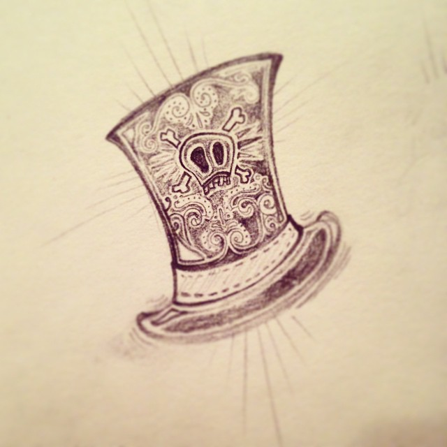 """A jaunty cap. Roughing out the illustrations for """"The Ultimate Snow Day Survival Guide"""" zine. This belongs to the """"snowman fixings"""" page. #snowday #tophat #ilovemyjob #illustration #steampunk #pencil #zine #circus #conceptart #design #graphicdesign #artanddesign #art #sketchoftheday #sketch4life #thedesigntip #sketch365"""