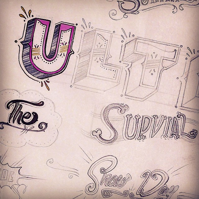 "So much type, so little time. Roughing out the cover for the upcoming zine""The Ultimate Snow Day Survival Guide"". (Yep. Spelled ""survival"" wrong #photoshopismyautocorrect) #snowday #zine #type #type365 #typography #thedailytype #thedesigntip #conceptart #penandink #pencil #graphicdesign #design #artanddesign #art #lettering #script #ilovemyjob #illustration #conceptart #marker"