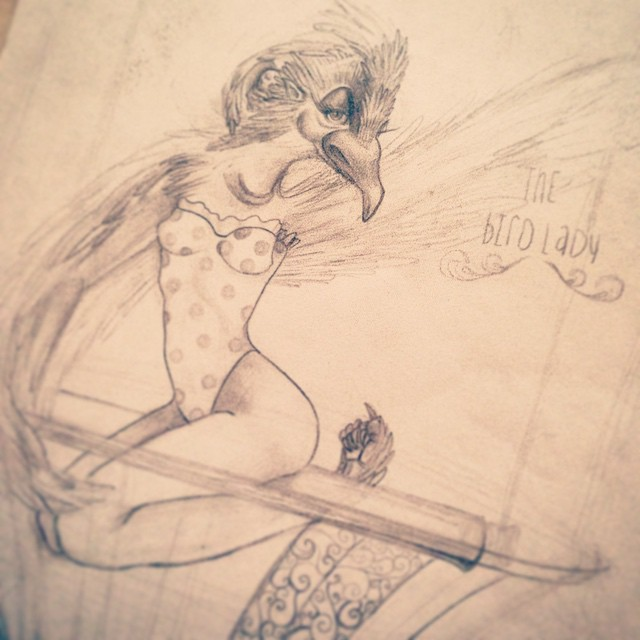 "In-progress design for the freak show tarot deck I'm working on. ""The Bird Lady"". #tarotcards #freakshow #birdlady #ilovemyjob #illustration #design #conceptart #artanddesign #art #graphicdesign #characterdesign #pencil #circus #thedesigntip #typography #type365 #sketchoftheday #sketch4life"