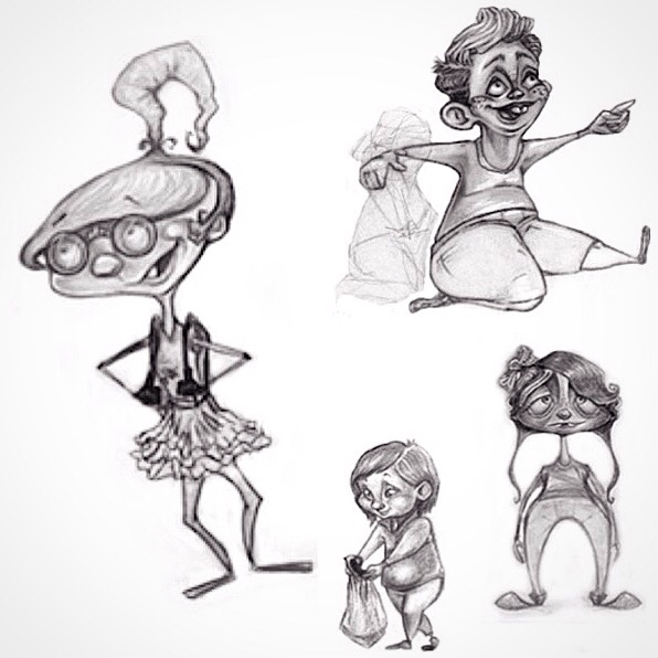 Character designs for various children's books.
