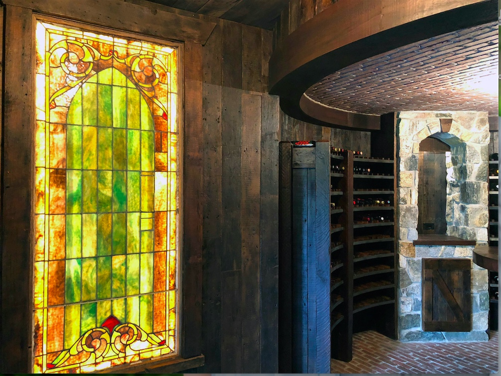 Stained glass beautifying the space.