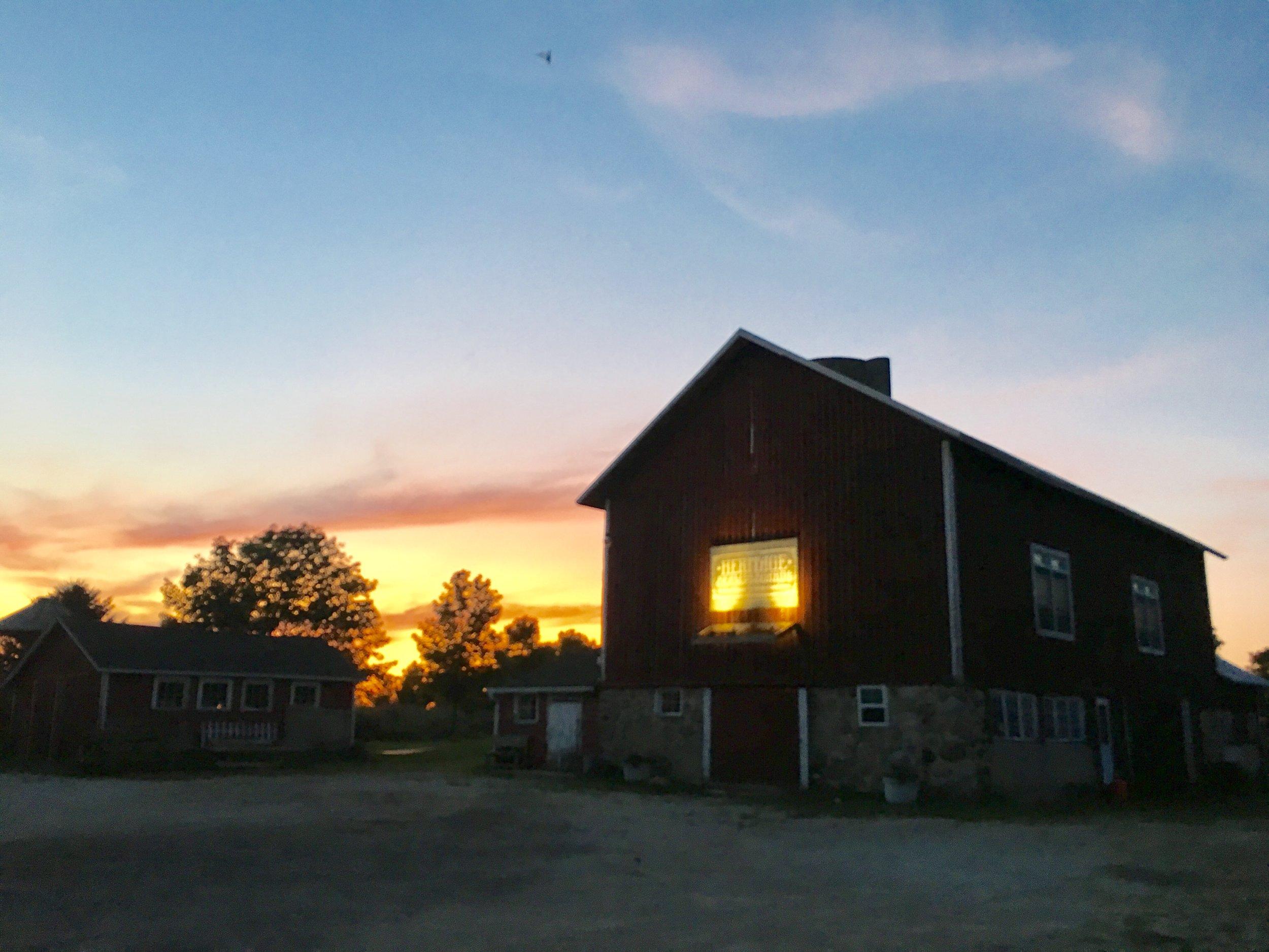 Heritage Barn at twilight.