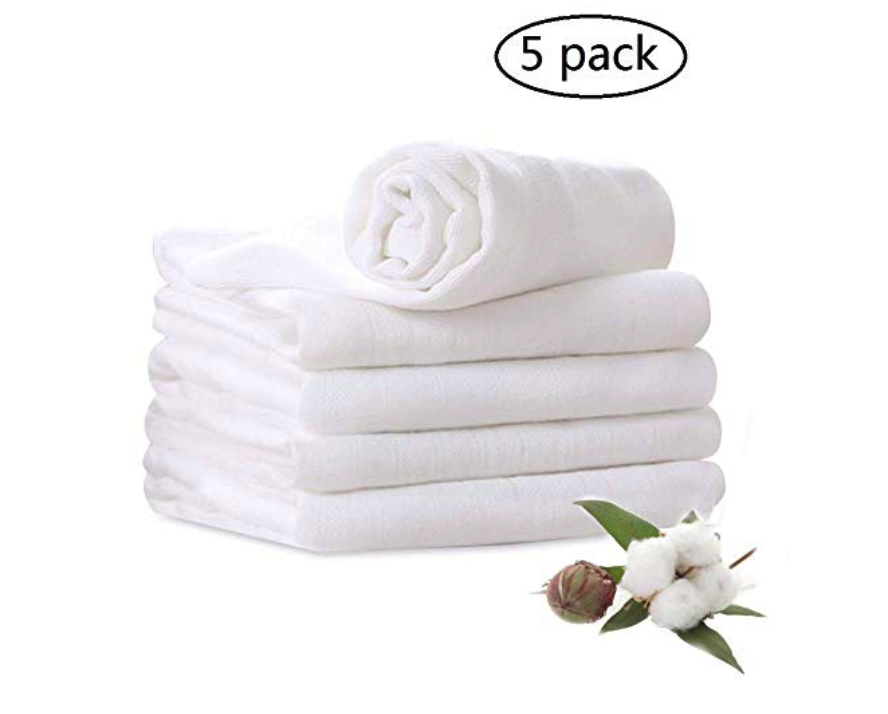 White Muslin Blankets, Burp Cloths, and Wash Cloths -