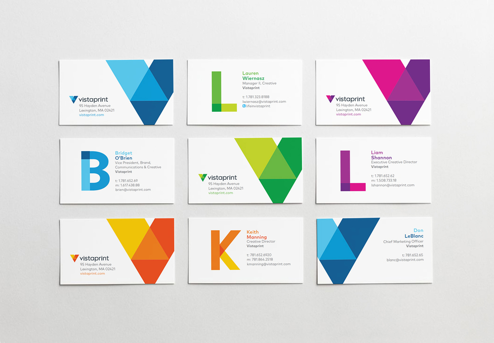 Reflecting the personalization so central to the Vistaprint brand, each employee has the option of four color palettes and their own monagram on their business card.