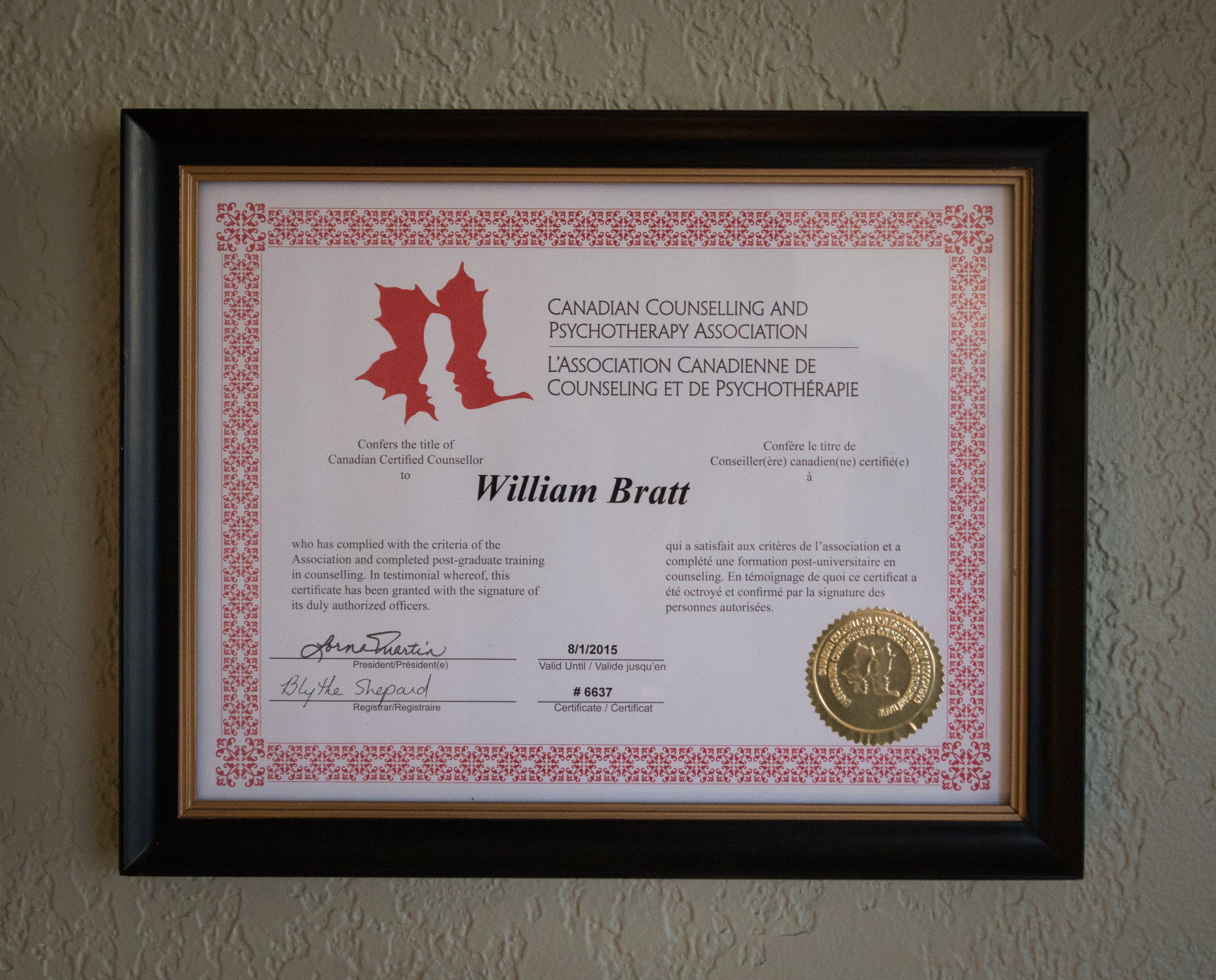 will bratt's counsellor registration with canadian counselling and psychotherapy association