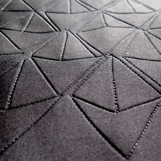 Quilted scuba fabric - geometric pattern from paper sketches