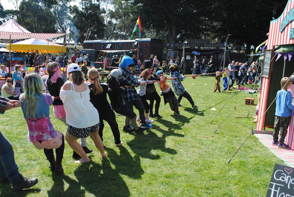 Enjoying an old fashioned Tug of War at the Extravaganza Fair