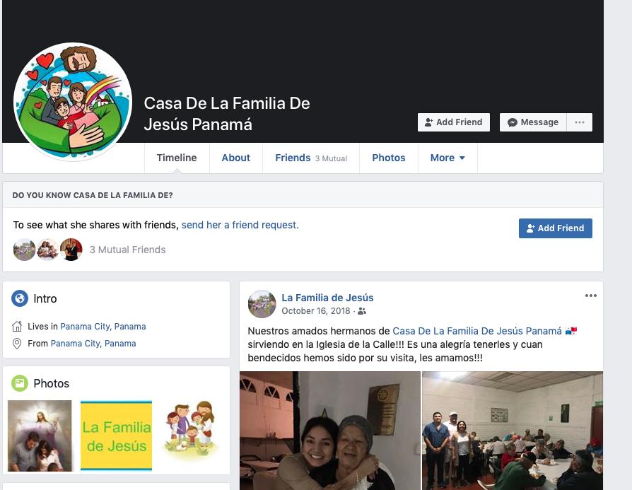 Facebook de la La Familia De Jesus Panama