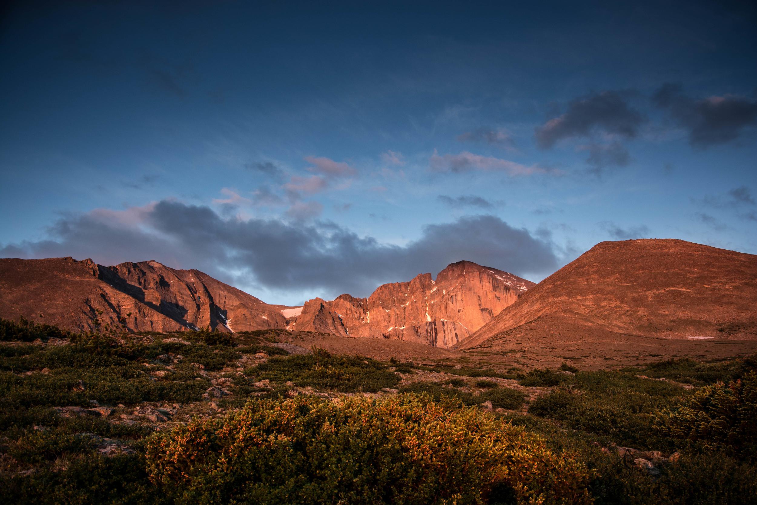 Sunrise on the Diamond of Longs Peak
