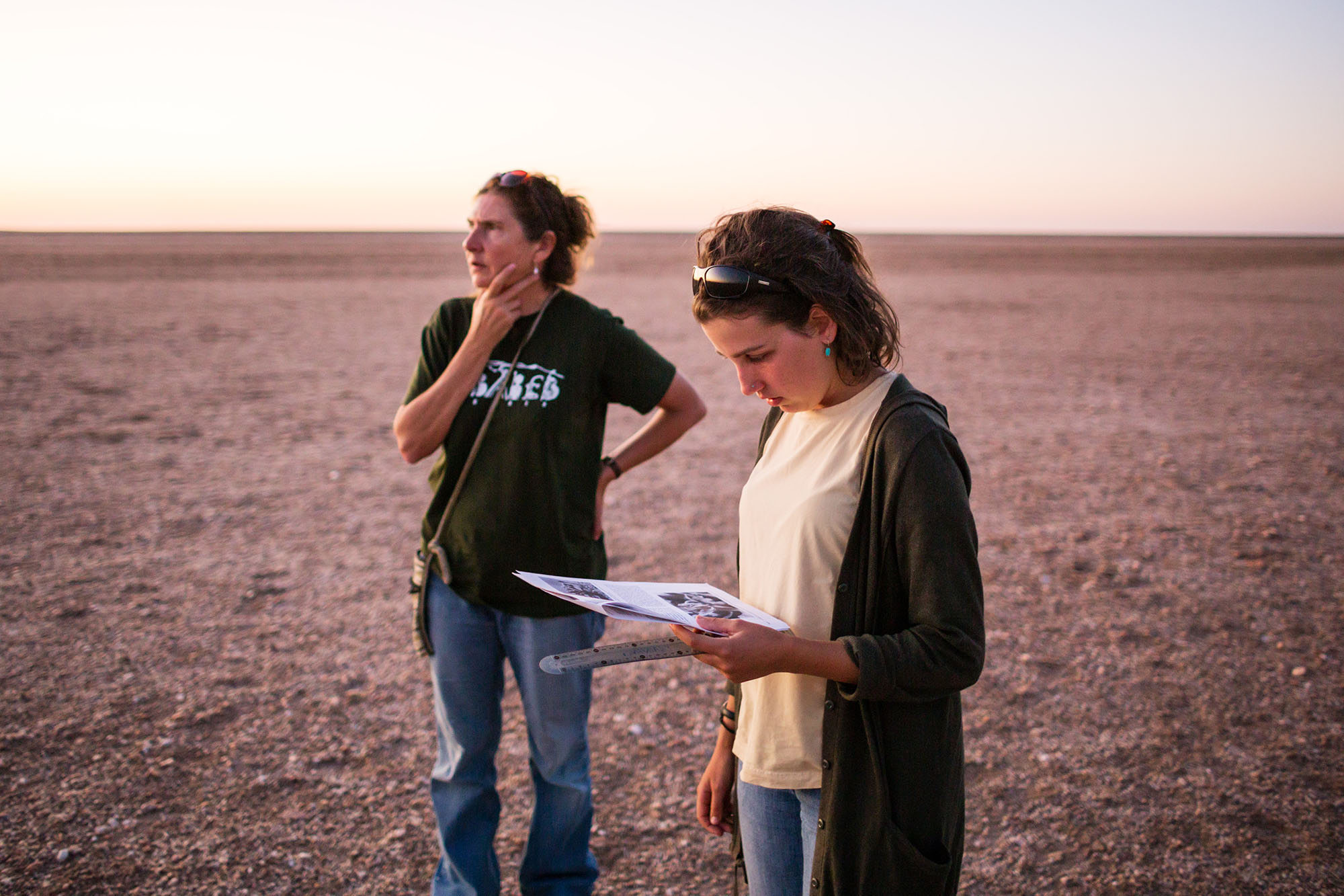 Dr Gillian Maggs-Kölling and Meg Schmitt (foreground) of Gobabeb try to locate the small plant on the extensive plains.