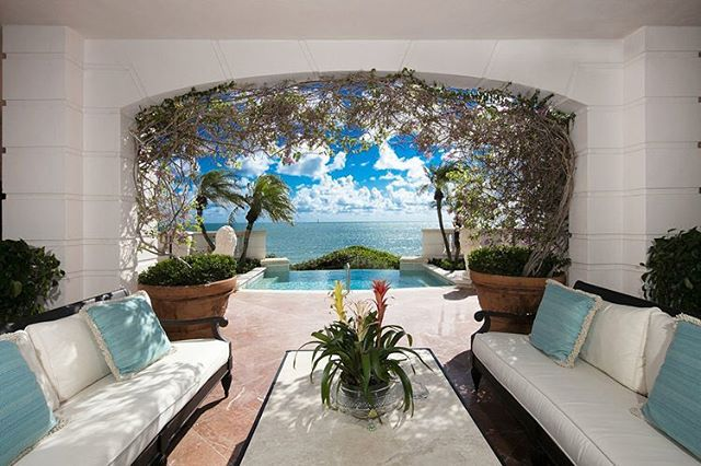 """Live in pure privacy and tranquillity on the exclusive #FisherIsland in this 7,696 SF, 5 bedroom, ground floor, """"center stack"""" residence. The unit is finished with Jerusalem stone floors, Venetian Plaster walls and hand painted wall and ceiling murals make this one of the most unique units currently on the market. The unit also includes a custom bar, formal dining room, chef's kitchen, wood-paneled study, 800-bottle wine cellar, master suite with marble master bath as well as over 5,300 SF of outdoor space complete with a private infinity pool. Stunning views of Miami Beach, the Atlantic Ocean and Government Cut throughout as well as one-of-a-kind direct beach access via private stairway. Currently listed for $16.9 million. #LuxuryListings #MiamiRealEstate • • • For more information buying, renting or selling real-estate in Miami head to DemetriDemascusMiami.com Call/ Text: 203-252-7201"""