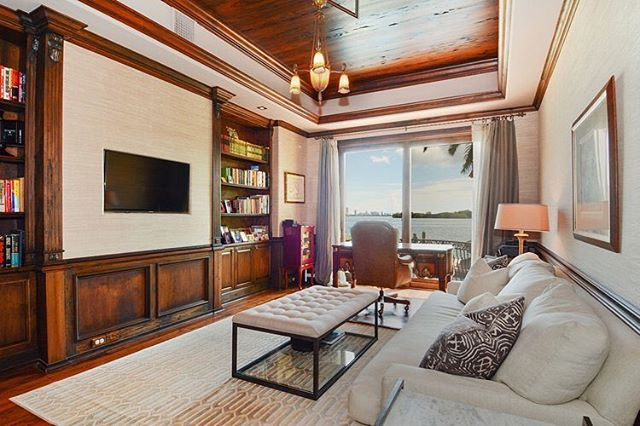 Office and living rooms views you will never want to leave. This classic 5,823 SF Mediterranean Italian Villa on Belle Meade Island features 5 bedrooms and 7 bathrooms with a 3,000 SF basement, 2 story living room, 800 bottle wine cellar, chef's kitchen, 80' of waterfront and a marble fireplace. Currently listed for $5 million. #LuxuryListings #LuxuryRealEstate #MiamiRealEstate • • • For more information buying, renting or selling real-estate in Miami head to DemetriDemascusMiami.com Call/ Text: 203-252-7201