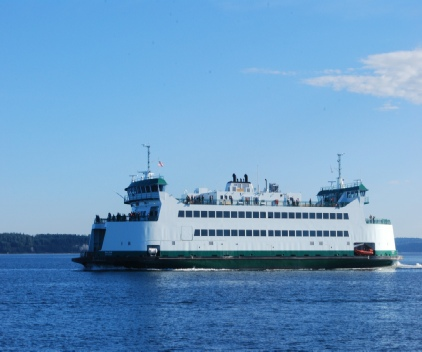 The Washington State Ferry to Whidbey Island is a great 45 minute ride as a walk-on, with a bicycle or take your car.