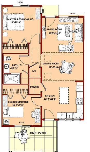 """A"" Unit - 2 bedroom, 1 bathroom, 910 Square Feet"