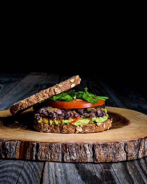 Mashed Avocado & Bean Sandwich