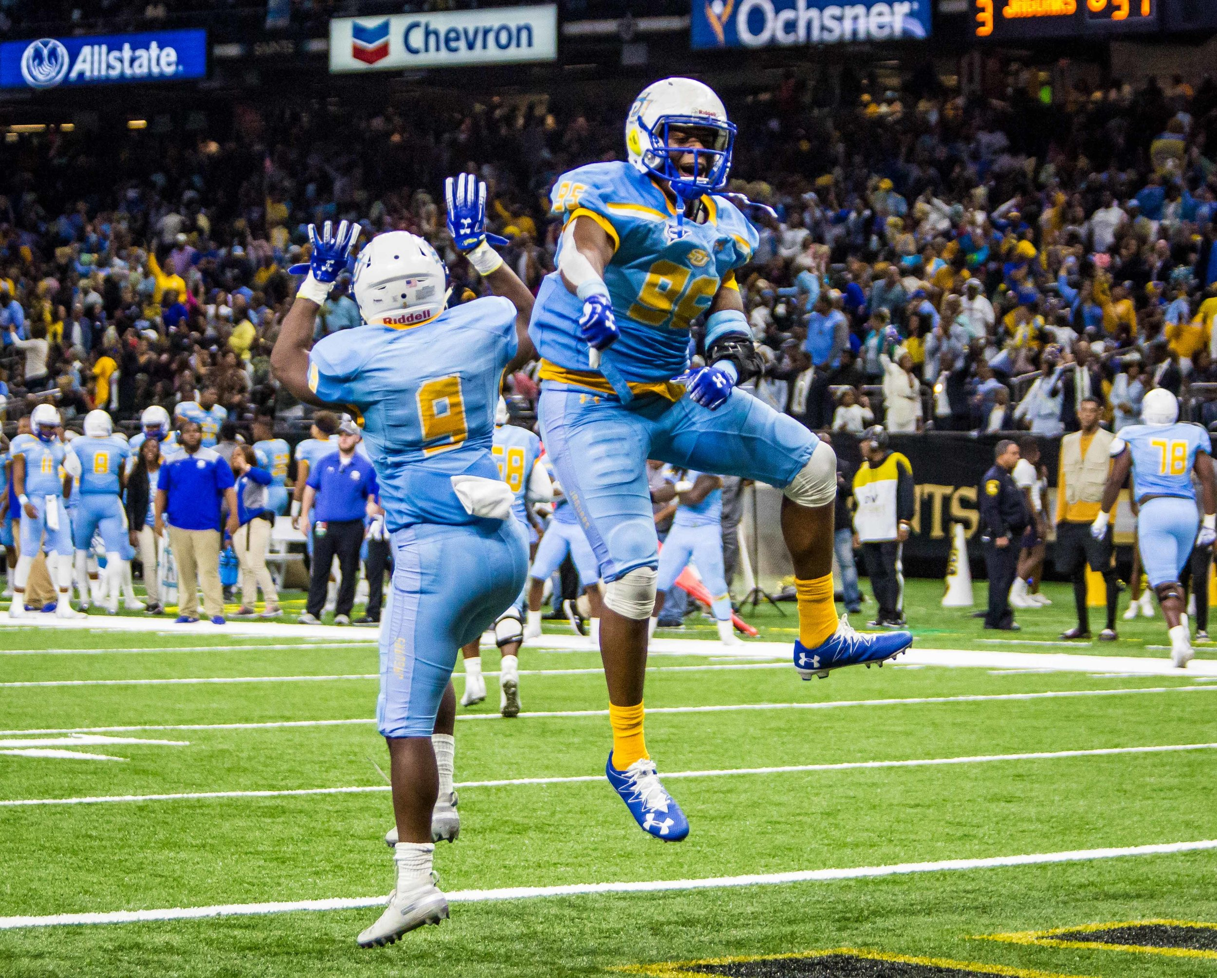 Southern University defensive lineman Tyran Nash (95) and Southern University running back Devon Benn (9) celebrate a touchdown during the second half of the 44th annual Bayou Classic on Saturday, Nov. 24, 2018, at the Mercedes-Benz Superdom. Southern won against Grambling State State University 38-28.