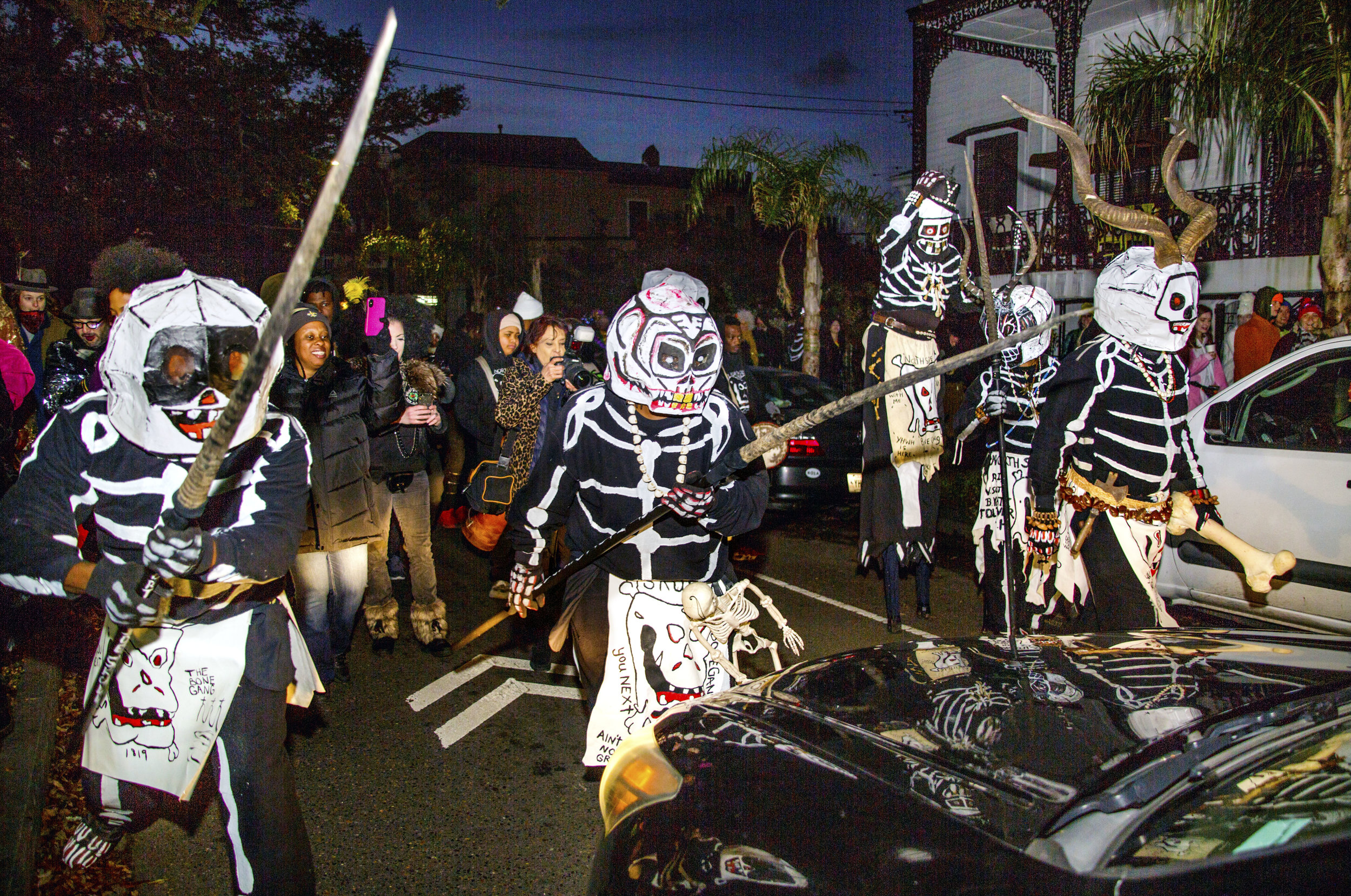 The North Side Skull and Bone Gang wake up the city on Mardi Gras morning and warn to get your life together before its too late.