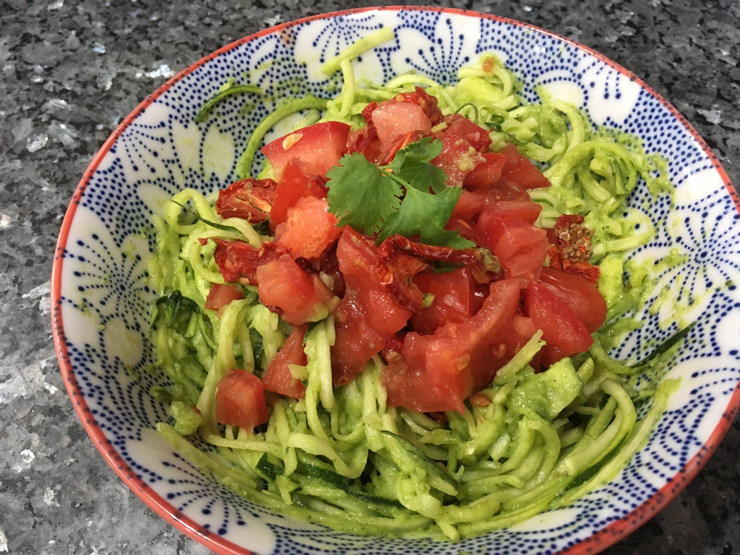 Raw Vegan zoodles with pesto sauce