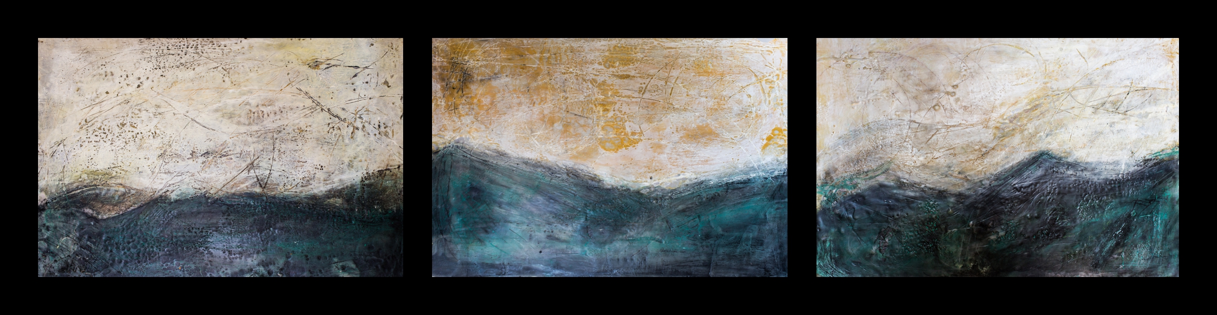 In The Canyon. Encaustic Photograph Triptych © Katy Tuttle 2016