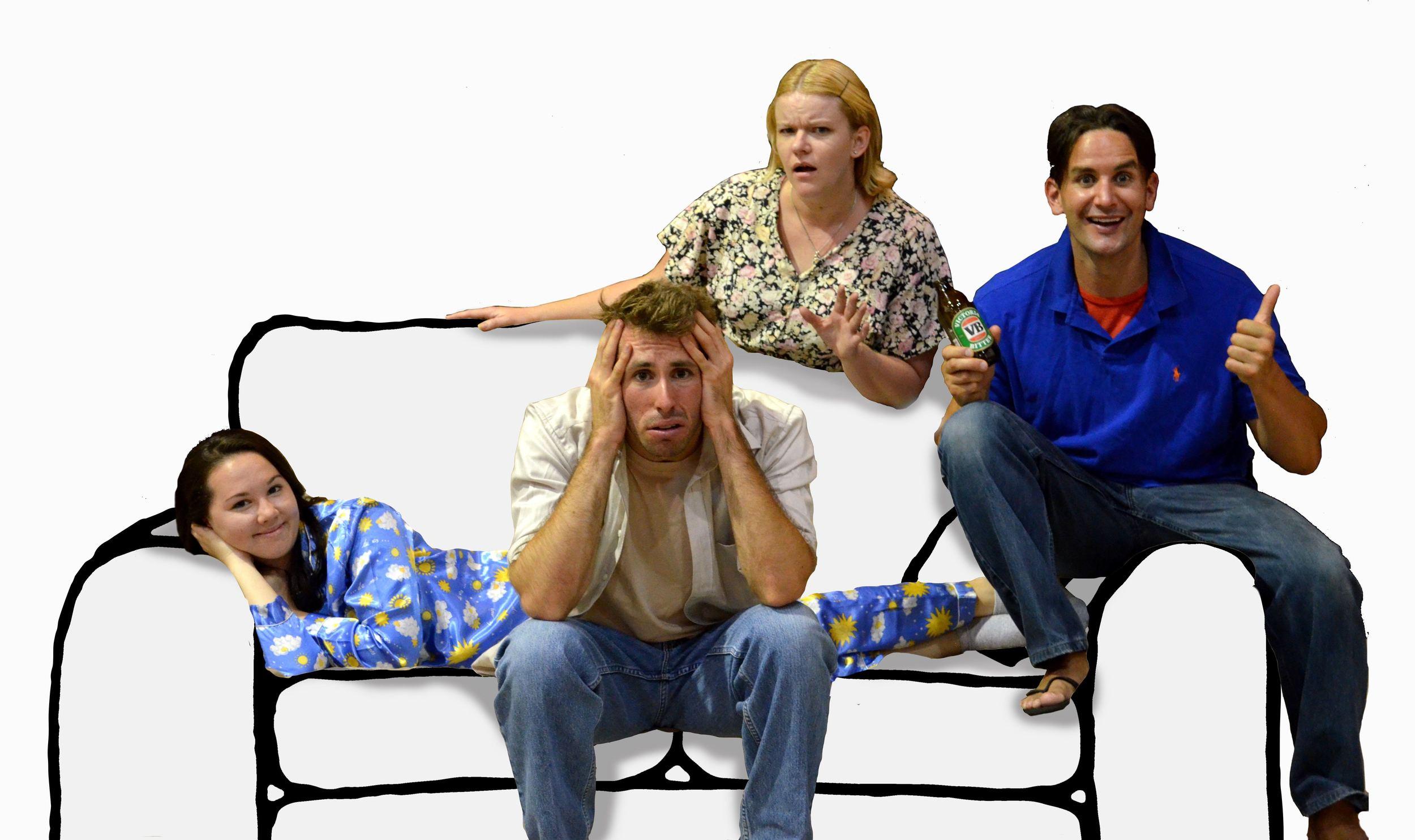 (L-R) Couch Potato cast: Jessica Lawrence, Mark Salvestro, Jennifer Piper, Luke Styles