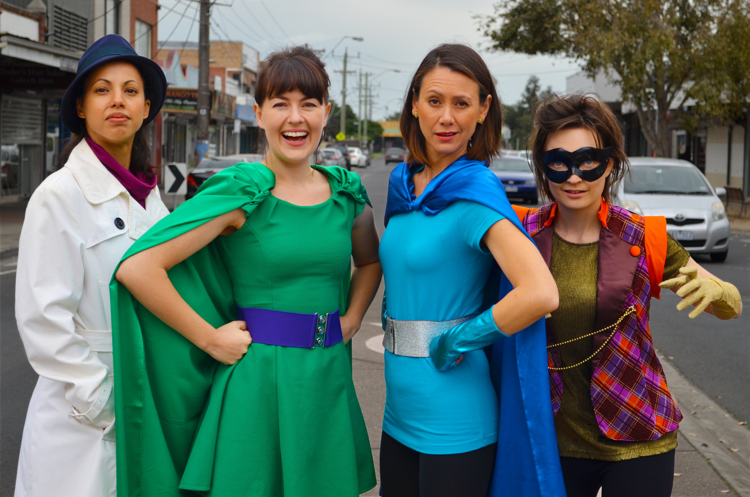 (L-R) Kerry du Plessis, Sarah Clarke, Emma Hayden and Belinda Campbell star in 'A Hero's Guide to Saving the Planet'