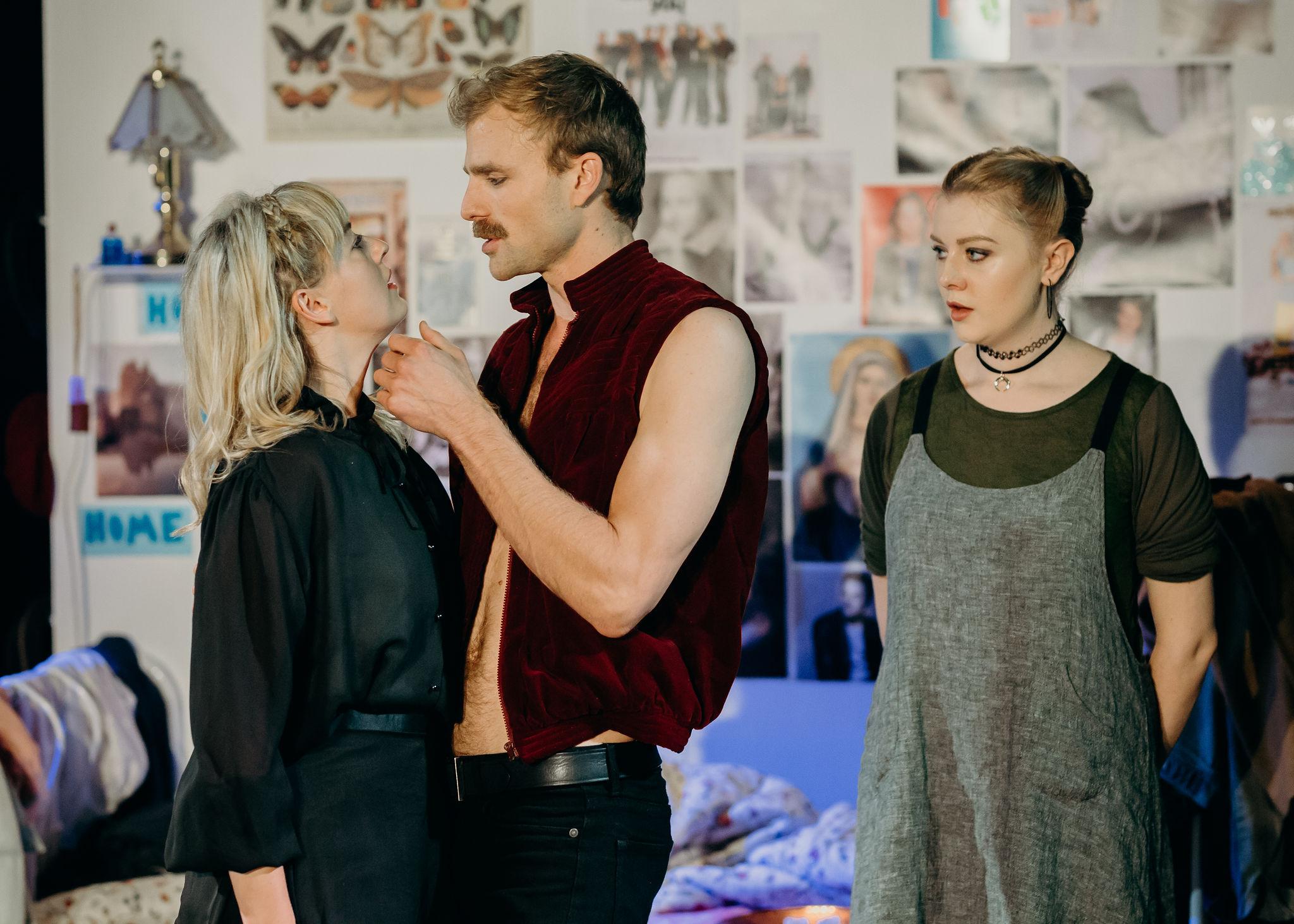 Sarah Clarke as Ophelia, Leigh Scully as Hamlet and Ruby Lauret as Maid. Image: Jack Dixon-Gunn