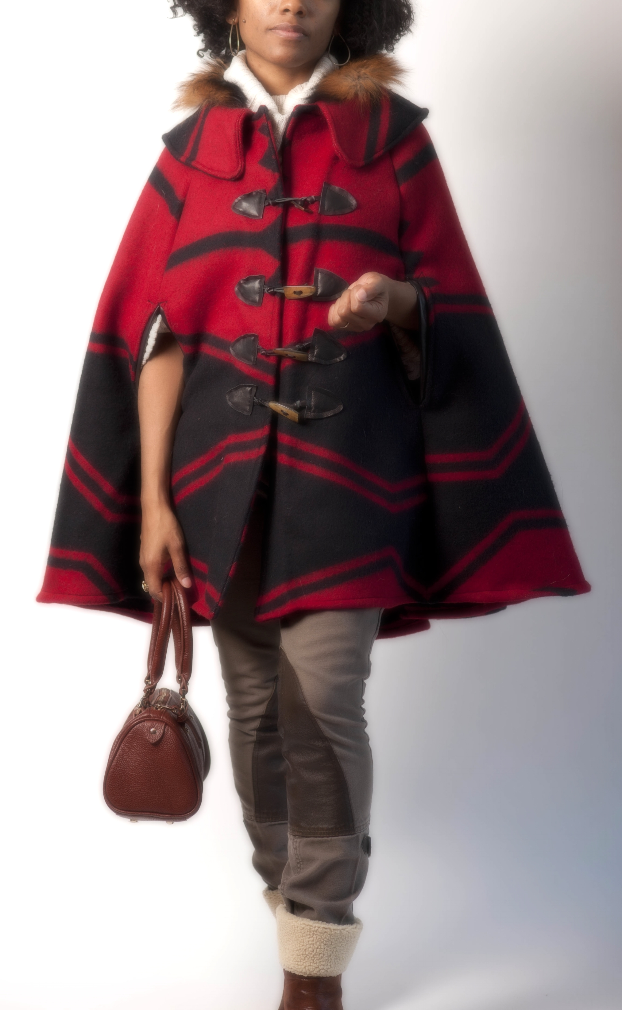 Blanket Cape with Fur Collar