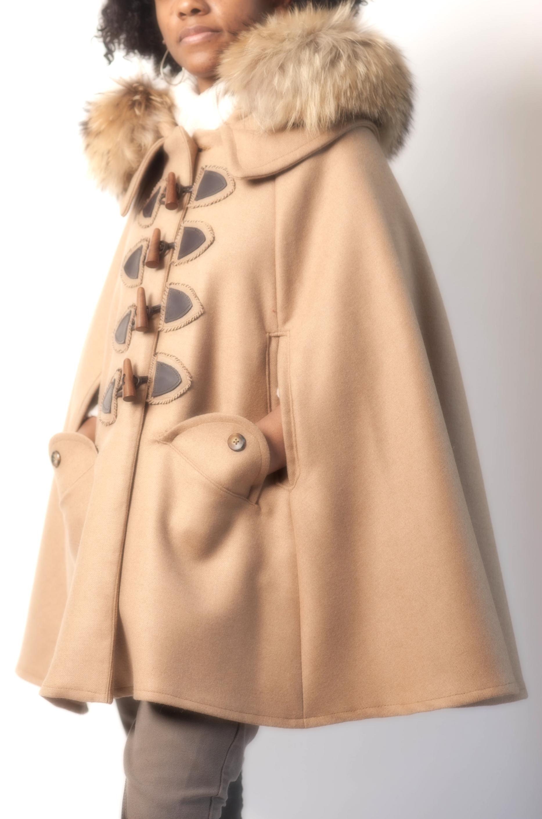 Fur Hooded Wool Cape