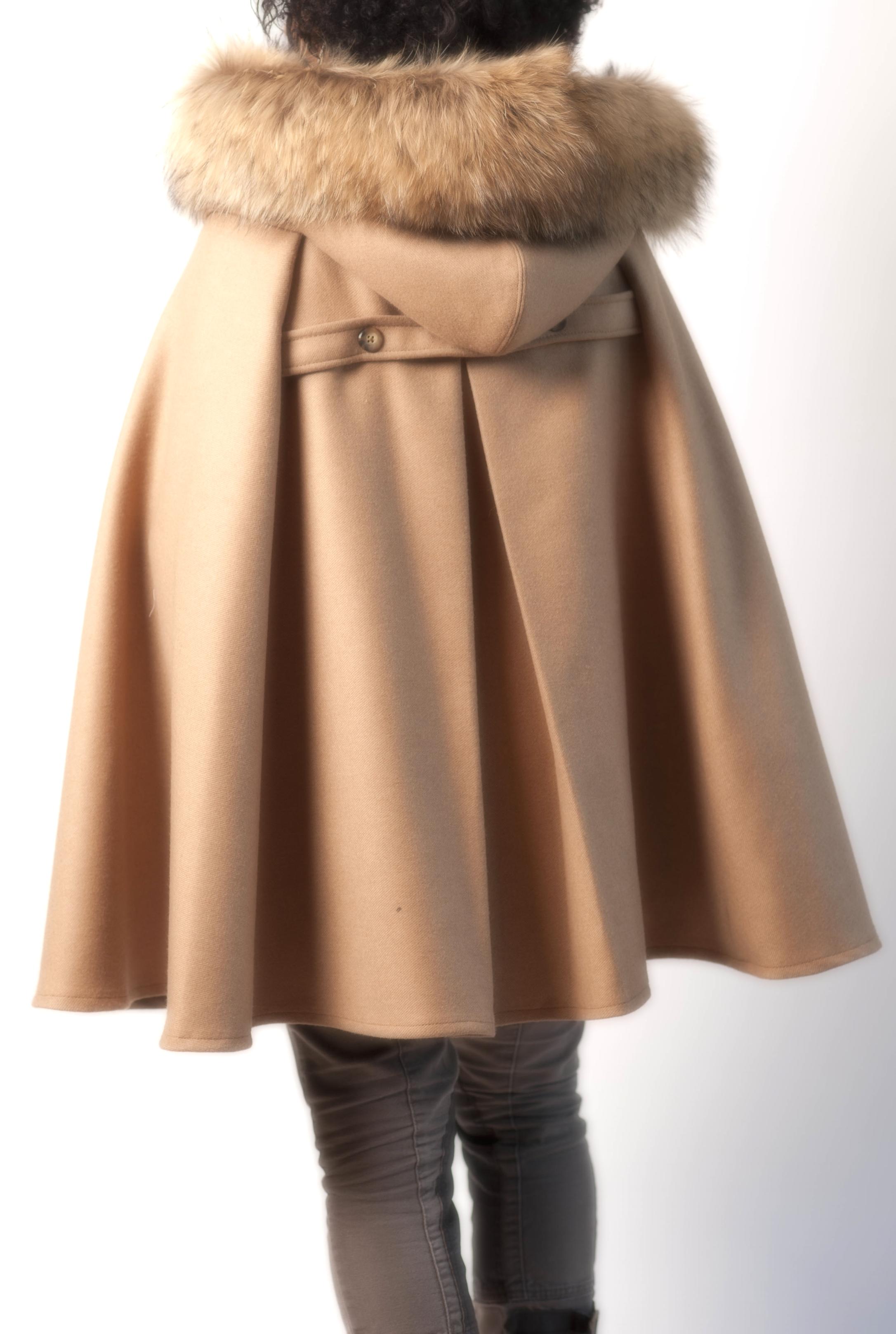 Fur Hooded Wool Cape (back)