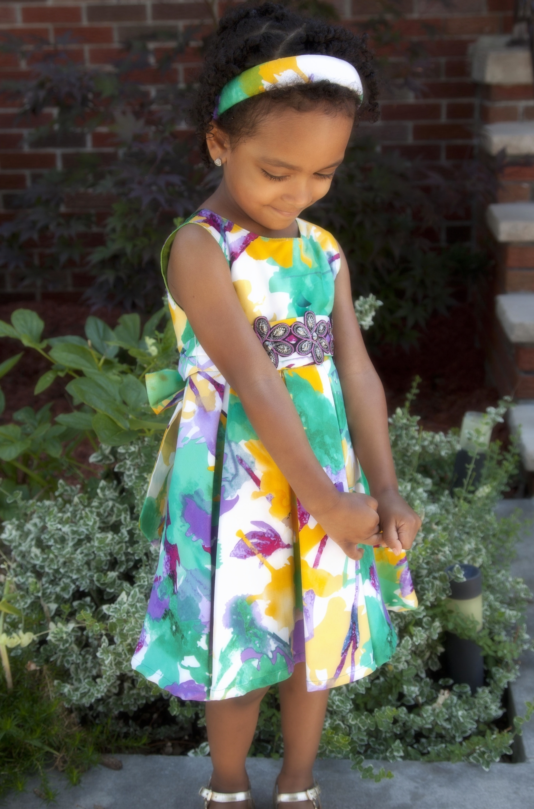 Watercolor Holiday Dress with Matching Headband