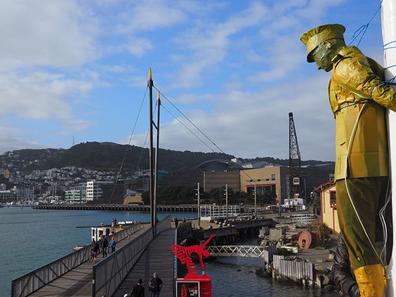 One of Peace Action Wellington's guerrilla sculptures installed at Frank Kitt's Park in Wellington on Anzac Day 2016.