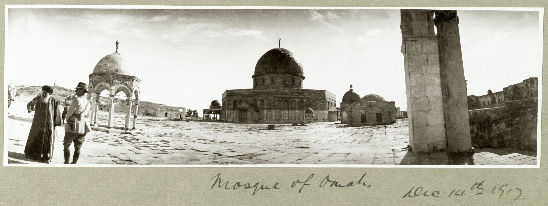 Photographs by Captain Arthur Rhodes from the   Palestine Exploration Fund, London.   Above: Major General Chaytor visiting the Dome of the Rock in Jerusalem,PEF/P/RHODES/111. Page header:  Guns drawn up for inspection,  PEF/P/RHODES/29.