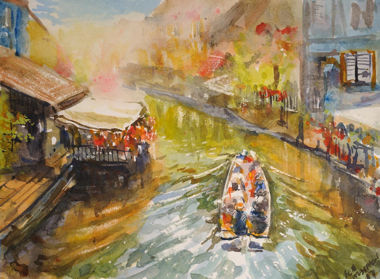 Canal Boat, Colmar, France