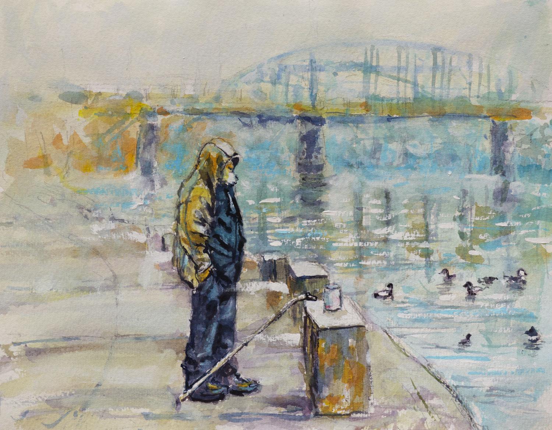 Man Feeding Ducks , Mon Wharf