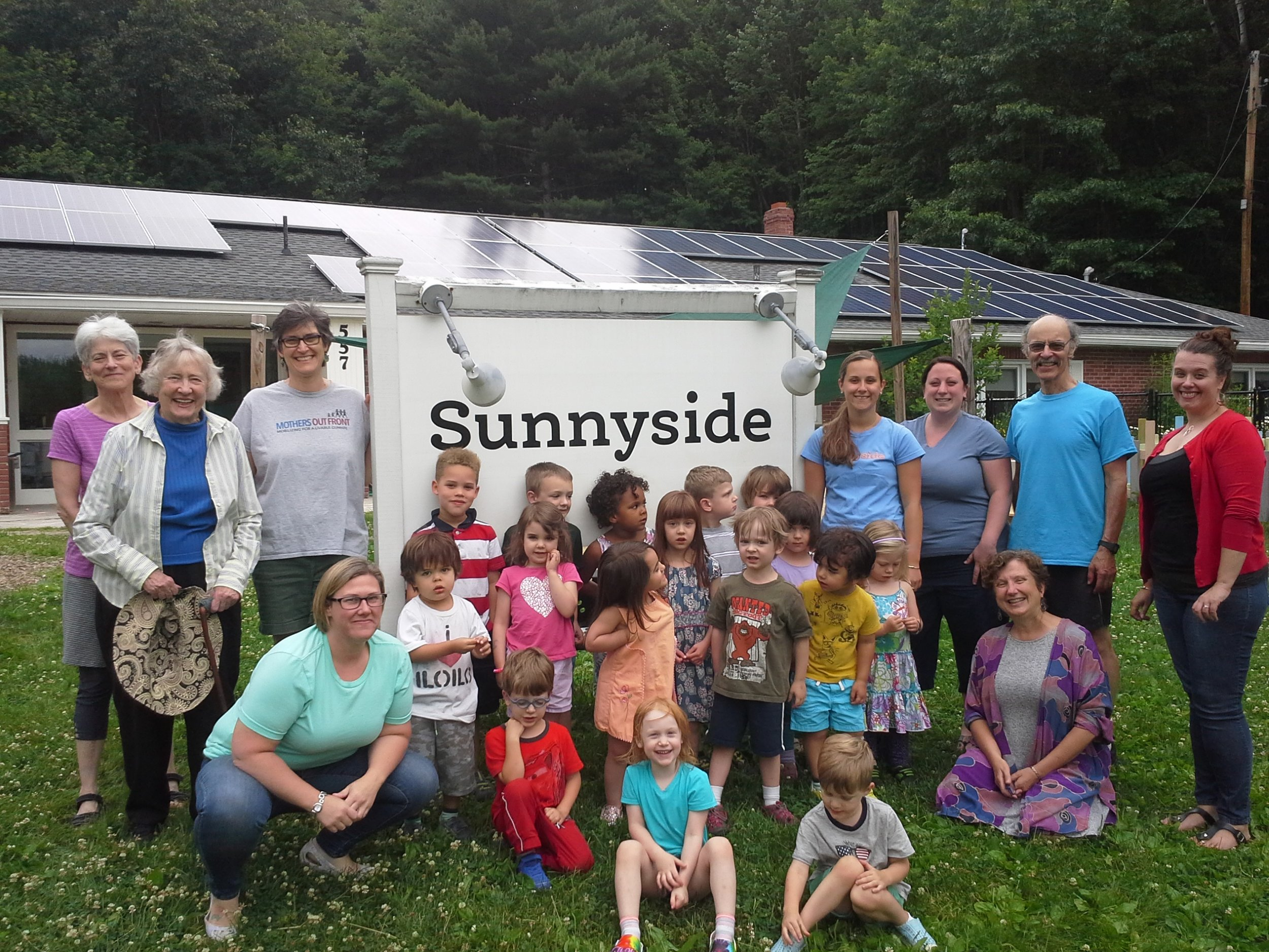 Sunnyside childcare center's new 24.7 kW solar array - one of the first Rays the valley projects installed - June 2018. (Northampton MA)