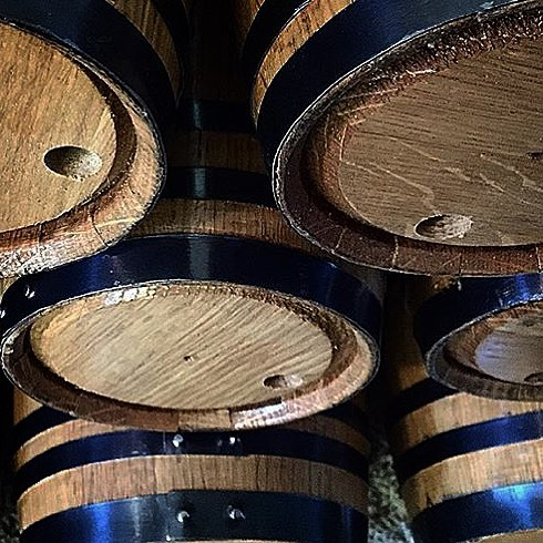 Stacking the small barrels.  #buyoakbarrels