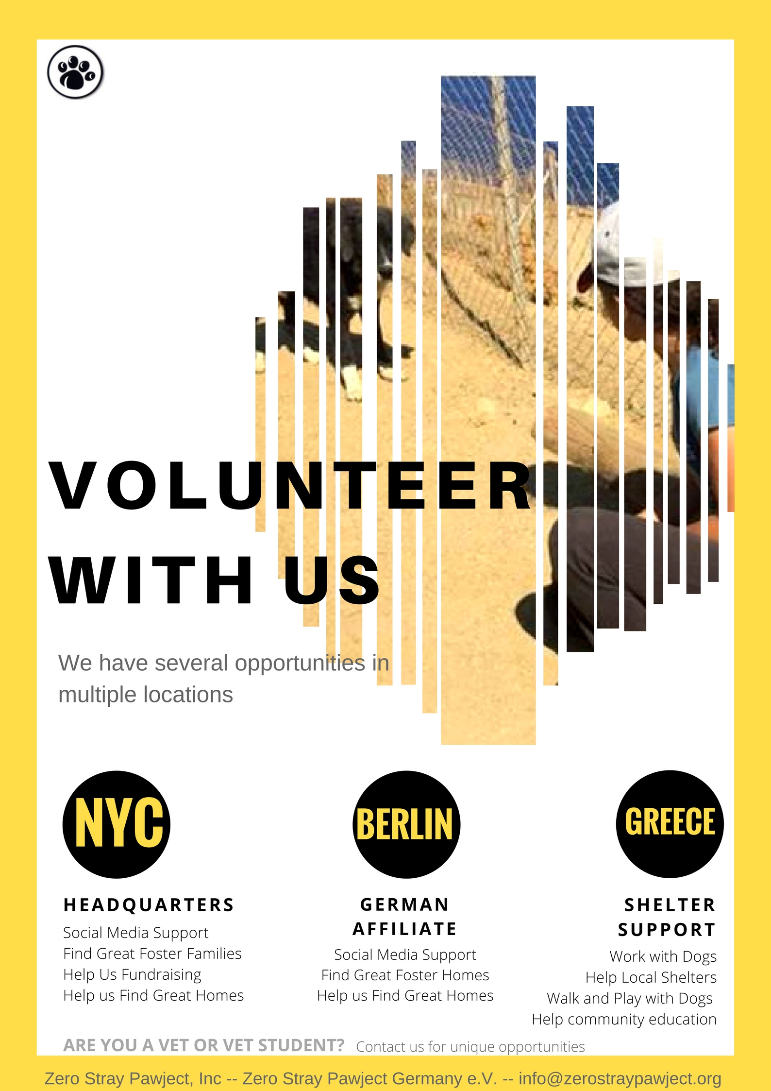 More opportunities. - Contact us using the form below. Tell us about you. What skills do you have? How would you like to help?